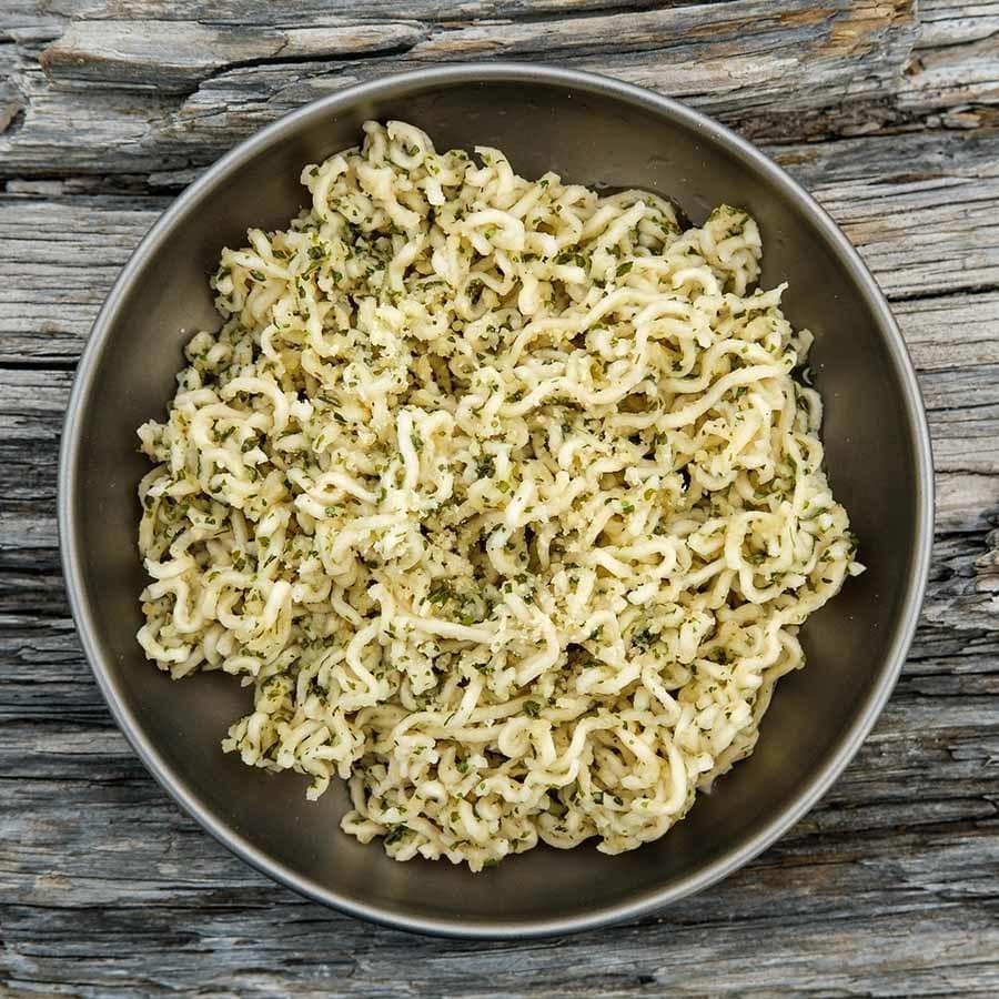 Garlic Parmesan Ramen backpacking recipe ready to eat at camp.