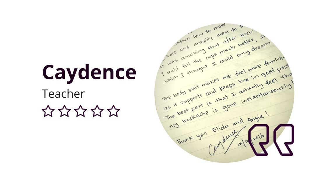 Caydence D'Elegance Testimonial: My Backache Is Gone