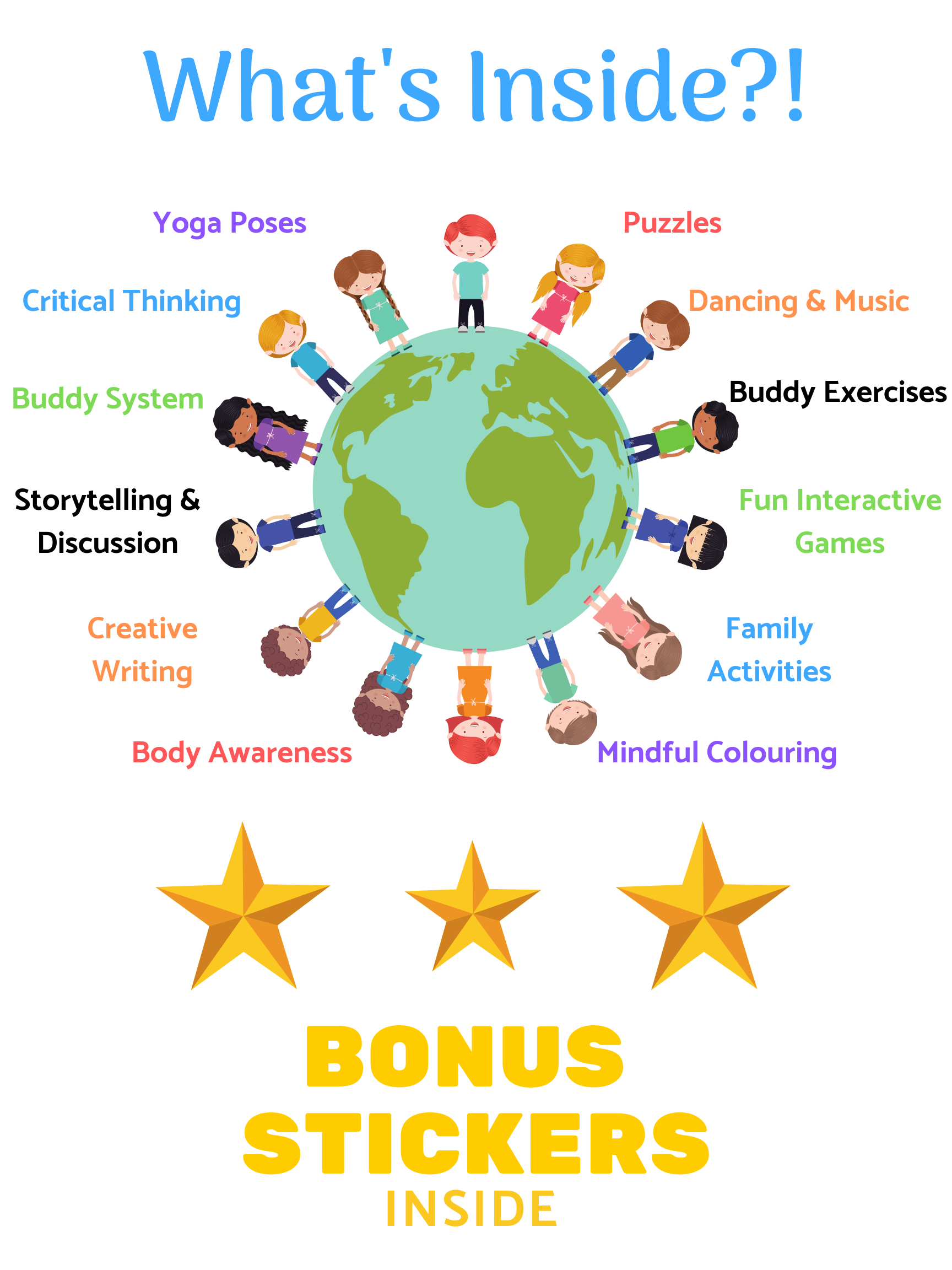yoga, puzzles, thinking, dance, fun, mindful coloring, creative writing, storytelling, family, awareness, stickers
