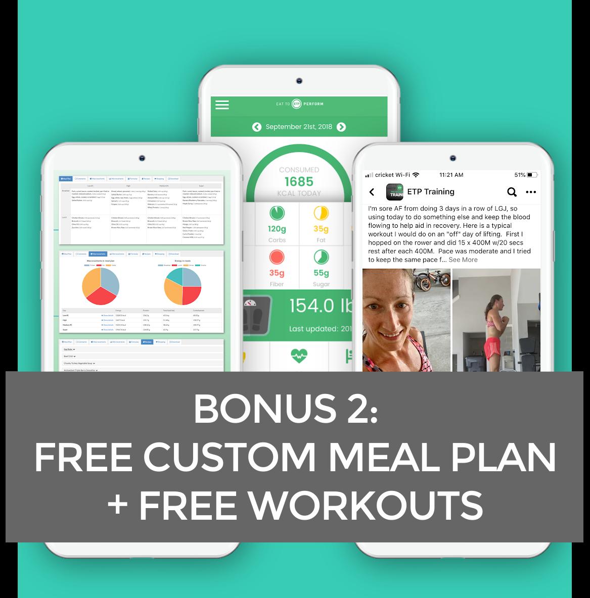 Bonus 2: Free Custom Meal Plan + Free Workouts