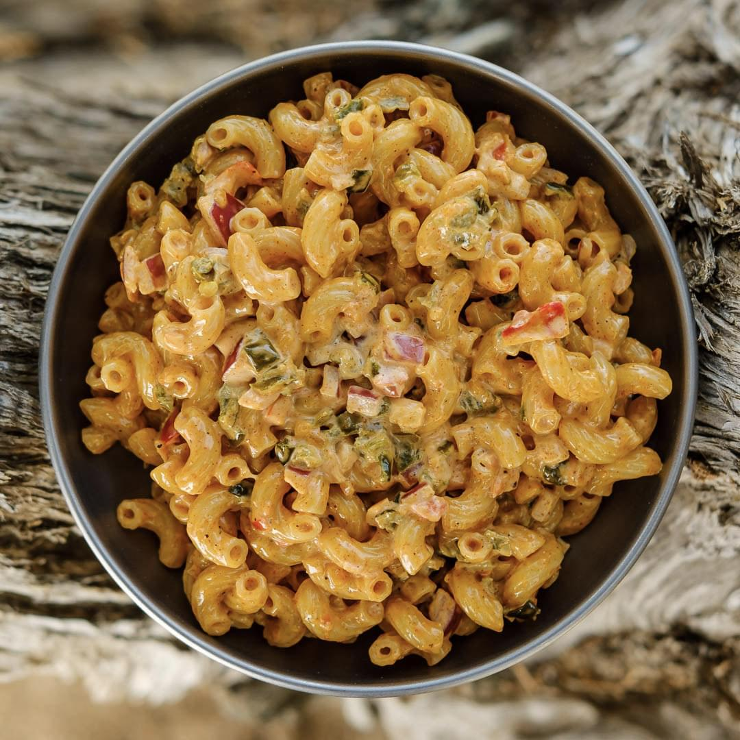 Sun Dried Tomato Pesto Pasta backpacking recipe ready to eat on trail