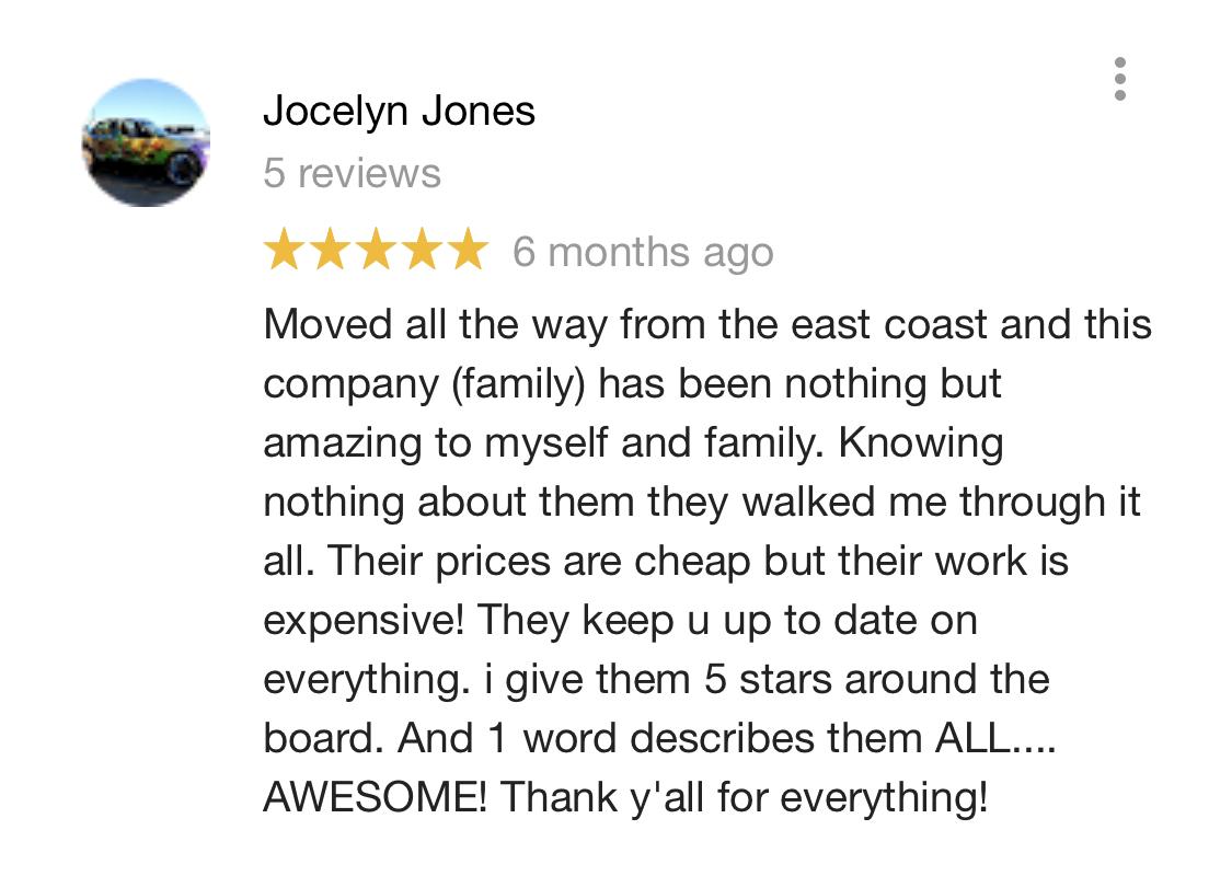 Google Review from Jocelyn Jones