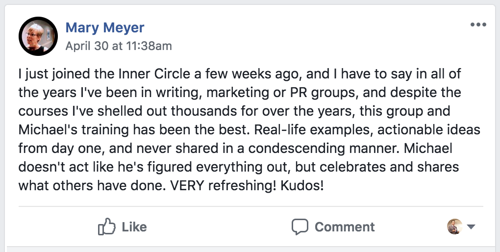 Smart PR Inner Circle member testimonial