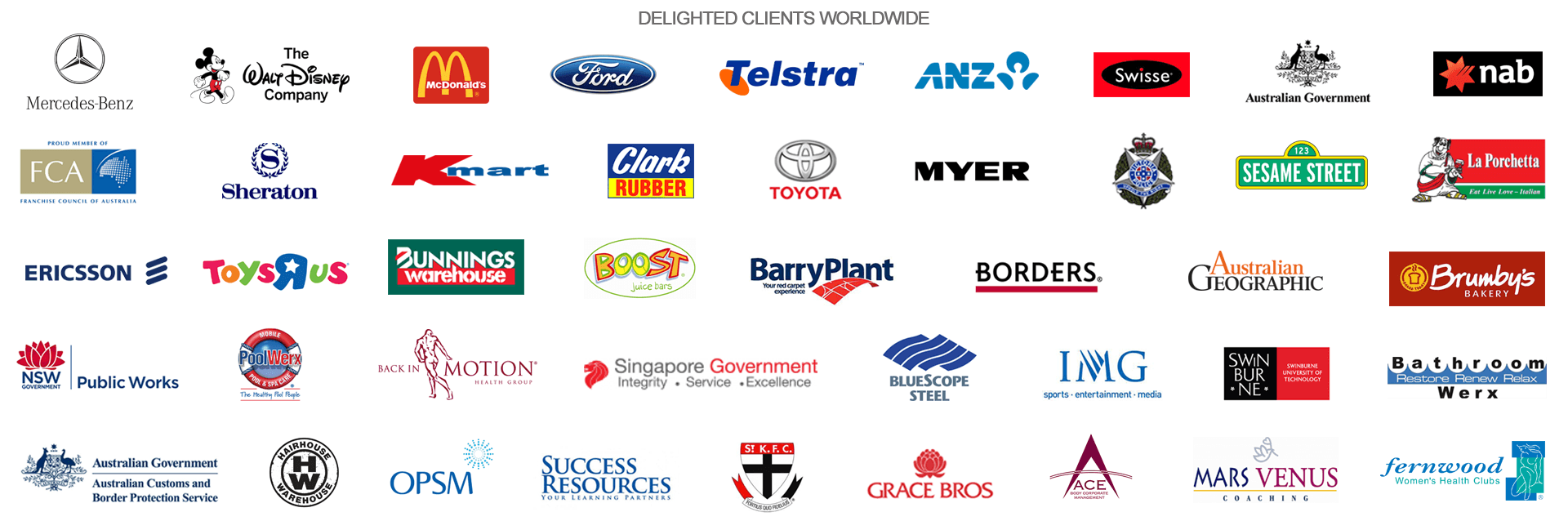 Image of all the logos of all the companies Darren Stephens has worked with. 43 well known companies.