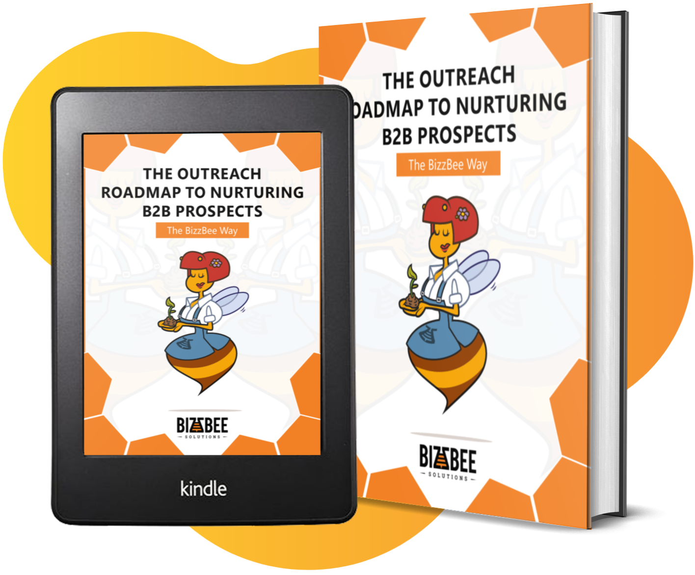 Reengineering LinkedIn Lead Generation - BizzBee's eBook guide mockup on a tablet and physical book.