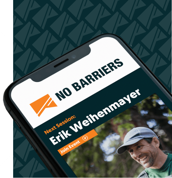 iPhone Displaying The No Barriers Membership Course Module with Erik Weihenmayer