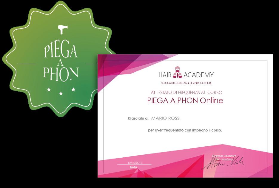 attestato finale corso online di piega a phon hair academy