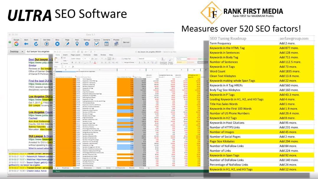 SEO Dive Deep Software measure over 520 ranking factors