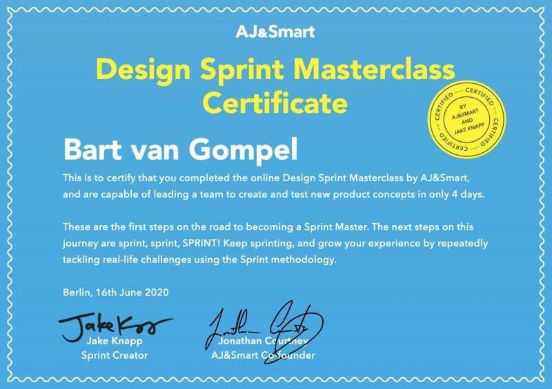 Design Sprint Masterclass certificate