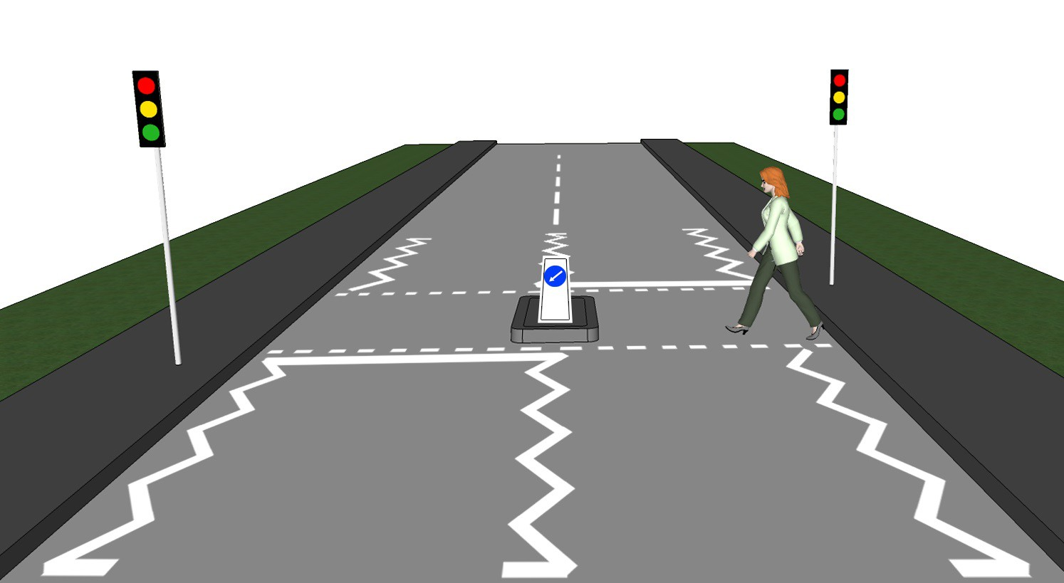 controlled pedestrian crossing with island