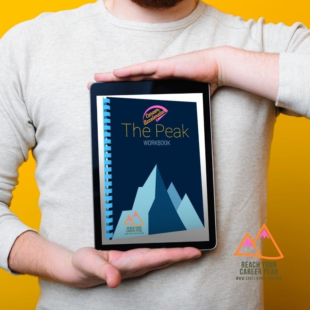 Man holding image of workbook
