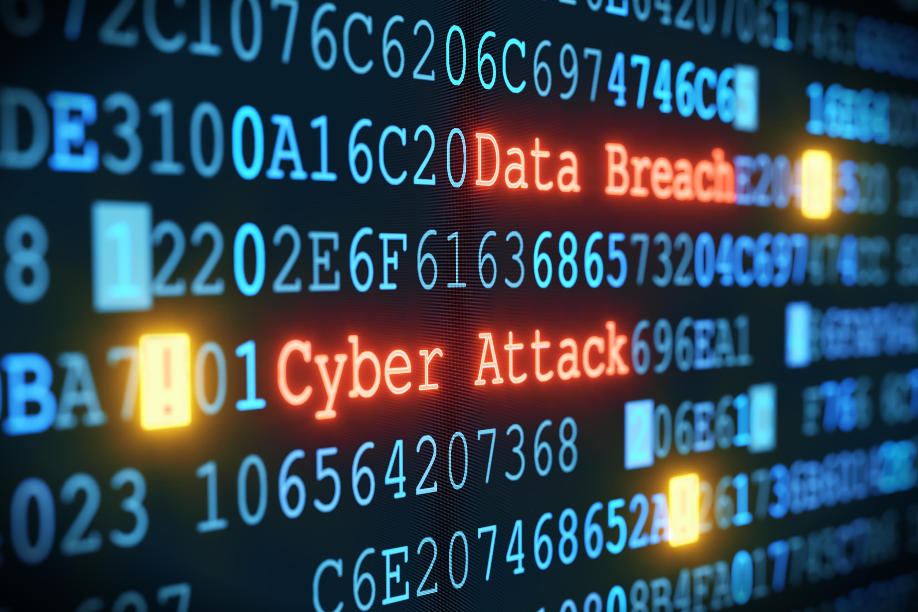 "Computer code labeled ""cyber attack"" and ""data breach"""
