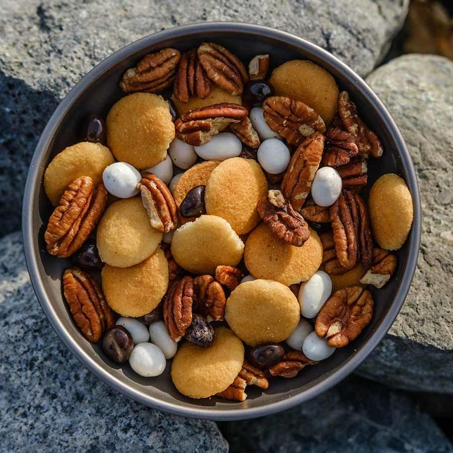 Espresso Trail Mix ultralight backpacking recipe ready to eat on trail.