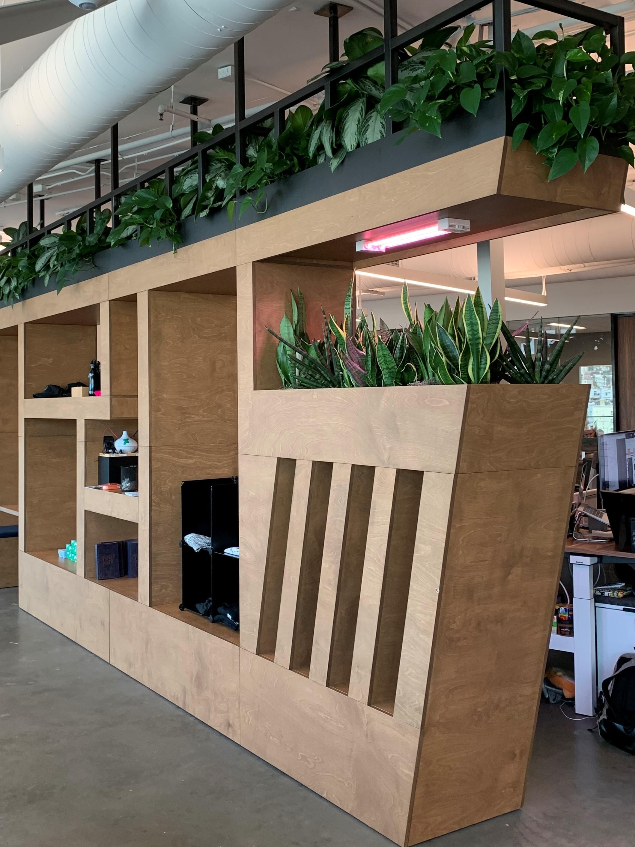 Interior landscape, planters, custom planters, plant wall, desk plant