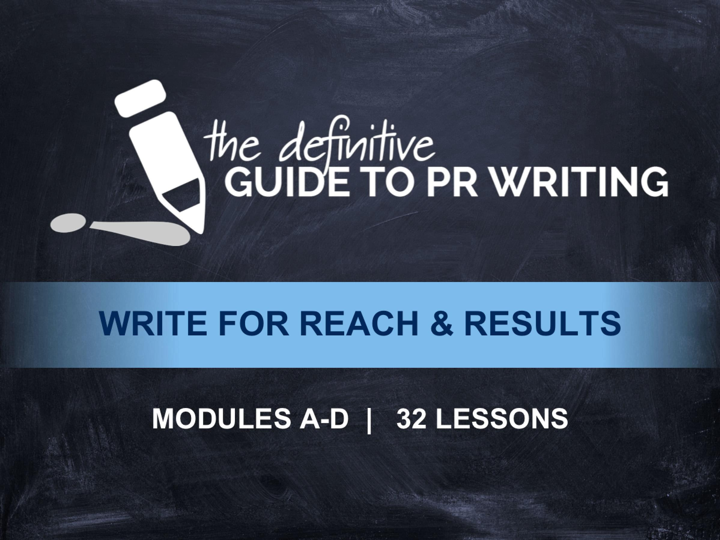 PR Writing Course: The Definitive Guide to PR Writing