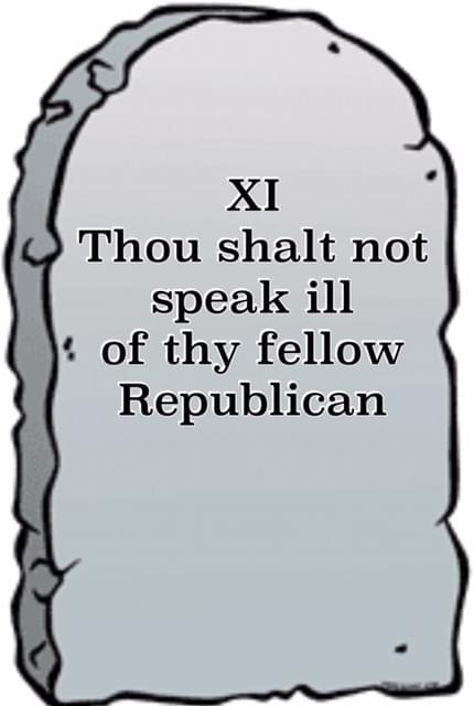 "Tomb Stone illustration inscribed ""thou shalt not speak ill of thy fellow Republican"""