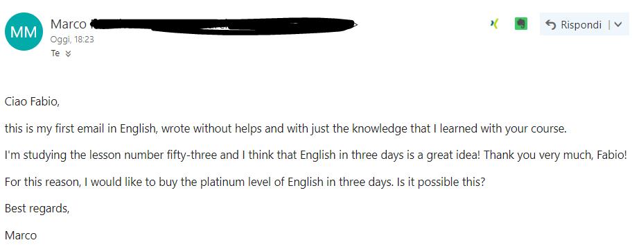 testimonial inglese in 3 giorni