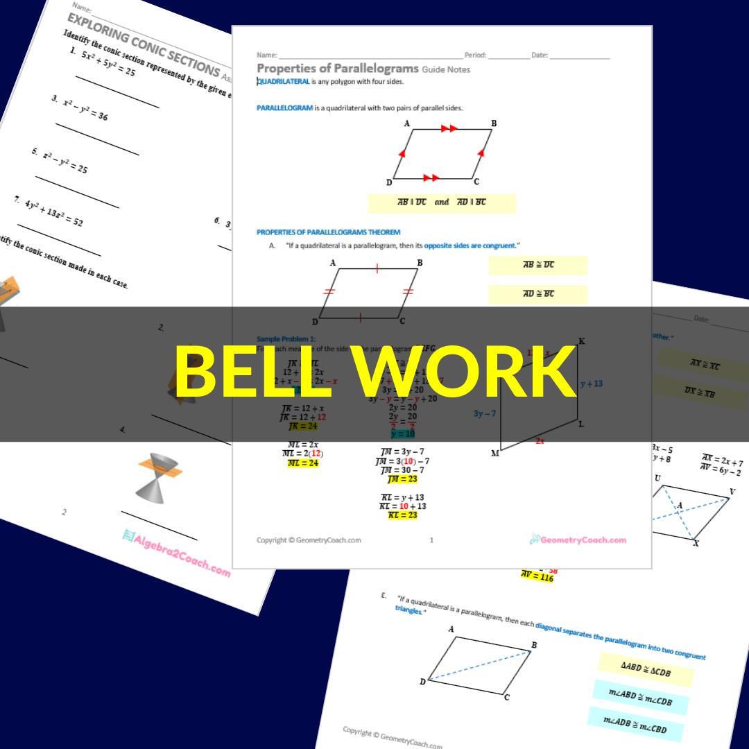 Algebra 2 Bell Ringers