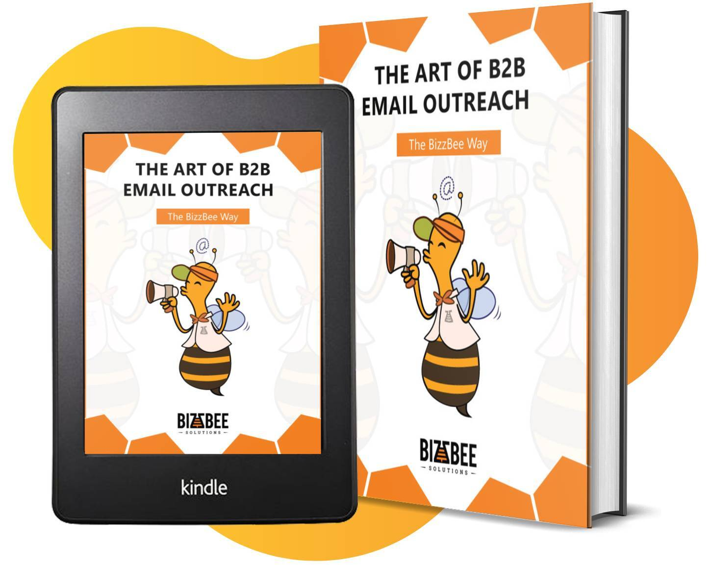 The Art of B2B Email Outreach - BizzBee's ebook cover tablet and physical book mockup.