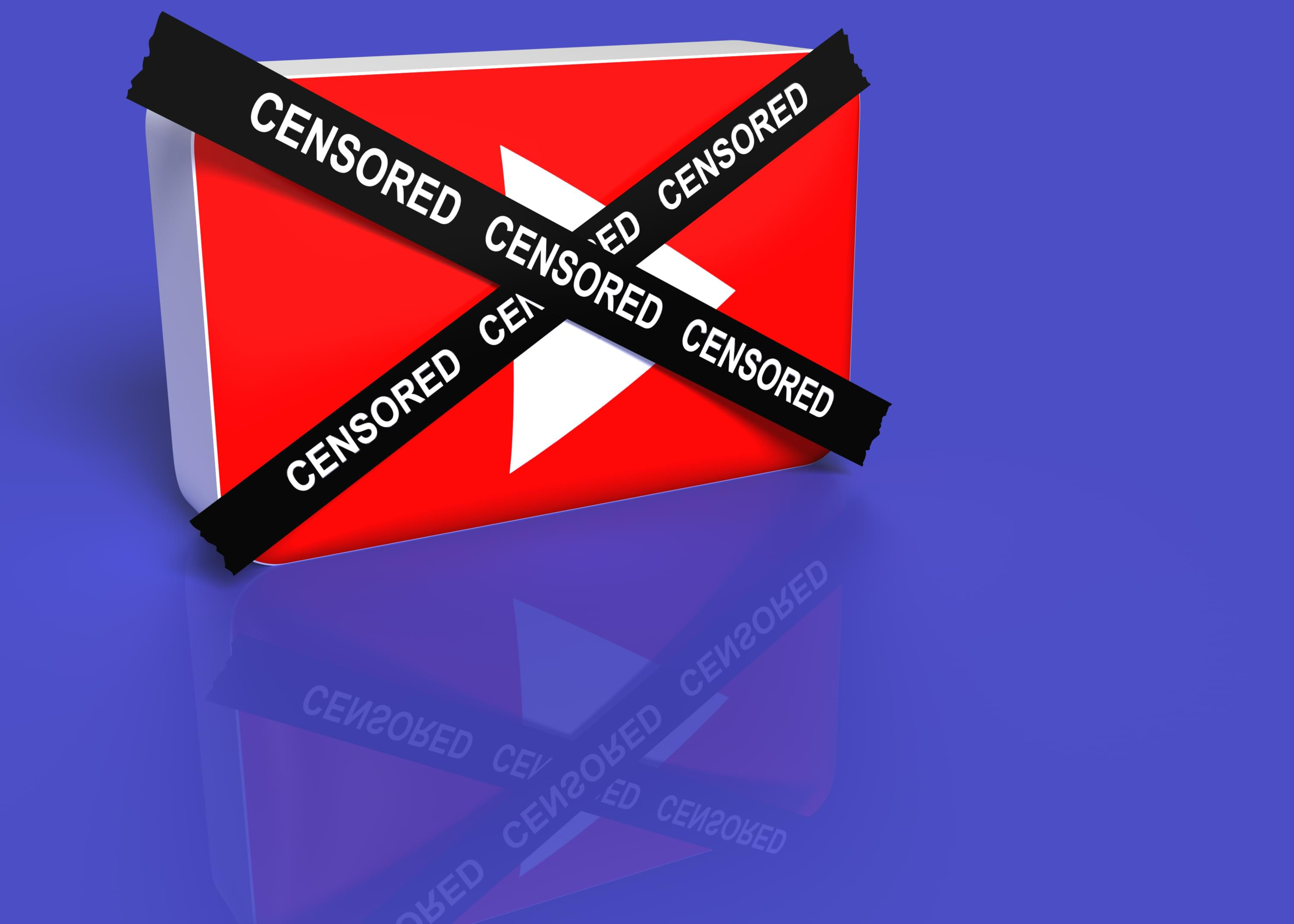 YouTube play button with censored tape