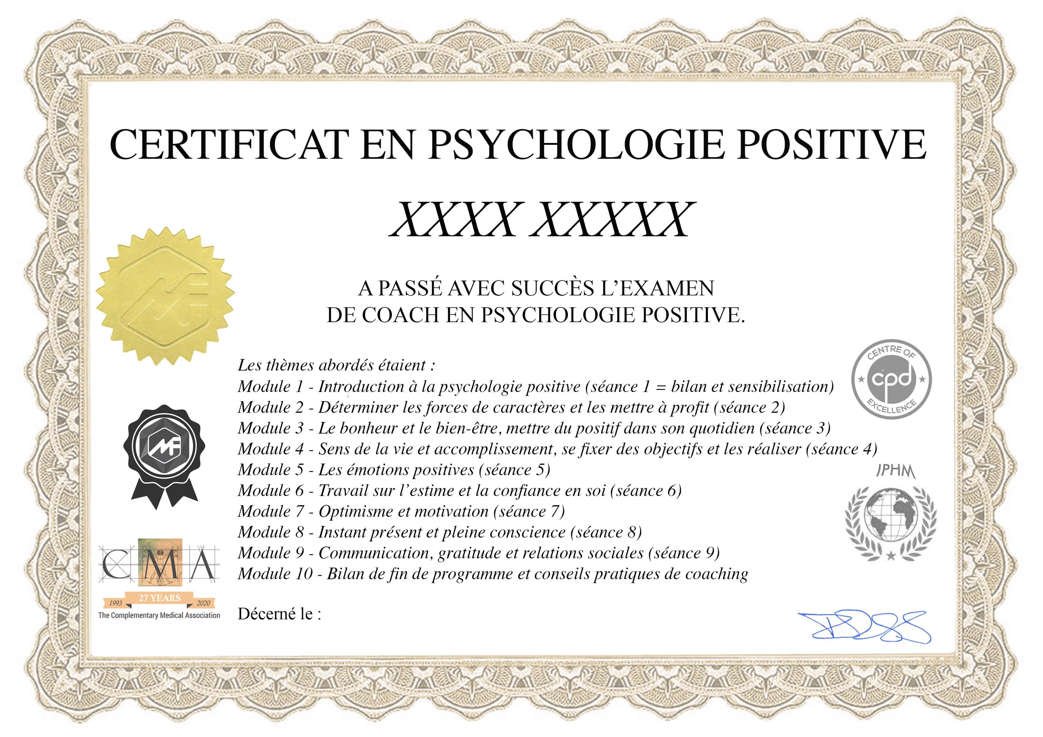 certificat, psychologie positive, coach, coaching, formation, en ligne, certification