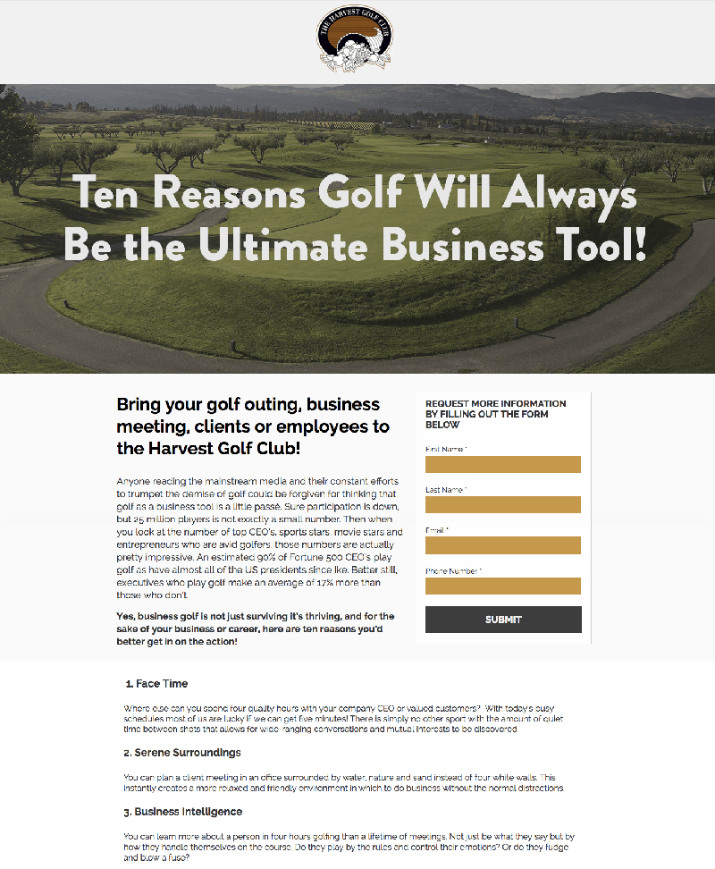 Golf Marketing Landing Page