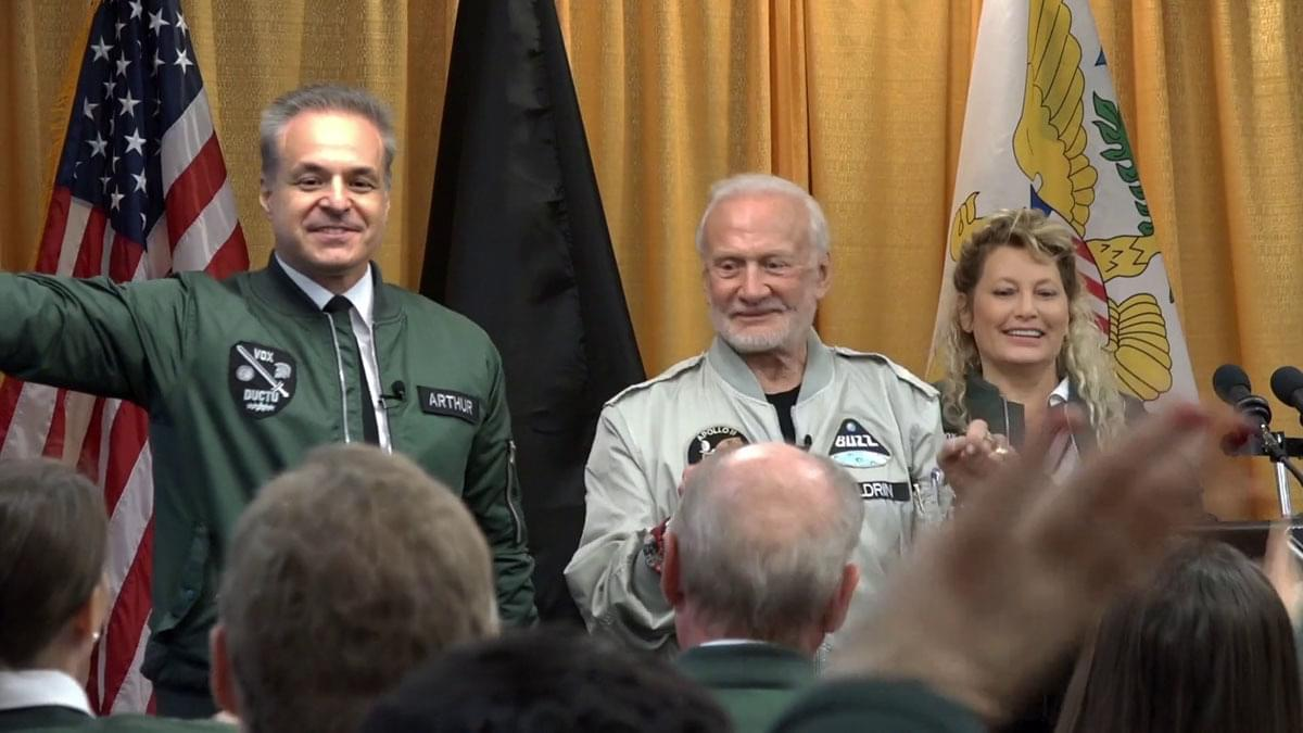 Clint Arthur sharing the stage with Apollo 11 astronaut Buzz Aldrin on the campus of West Point Military Academy
