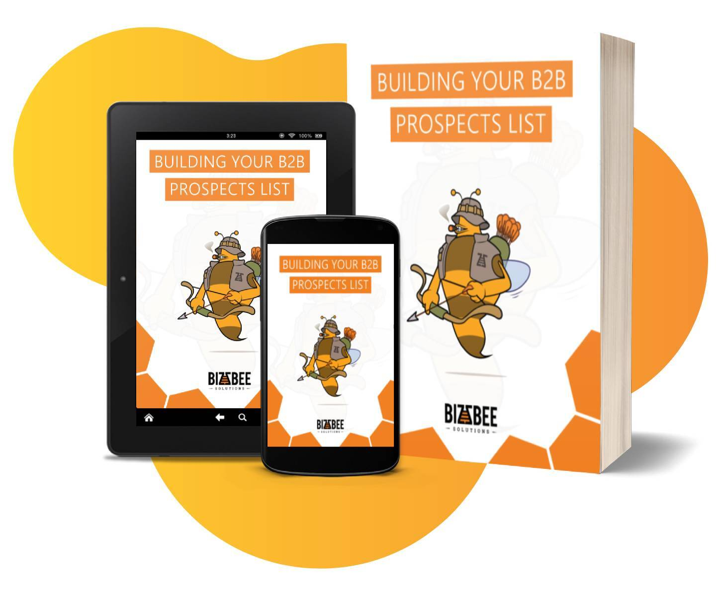 Building your b2b prospects list ebook cover mockups on a tablet, smartphone, and physical book.