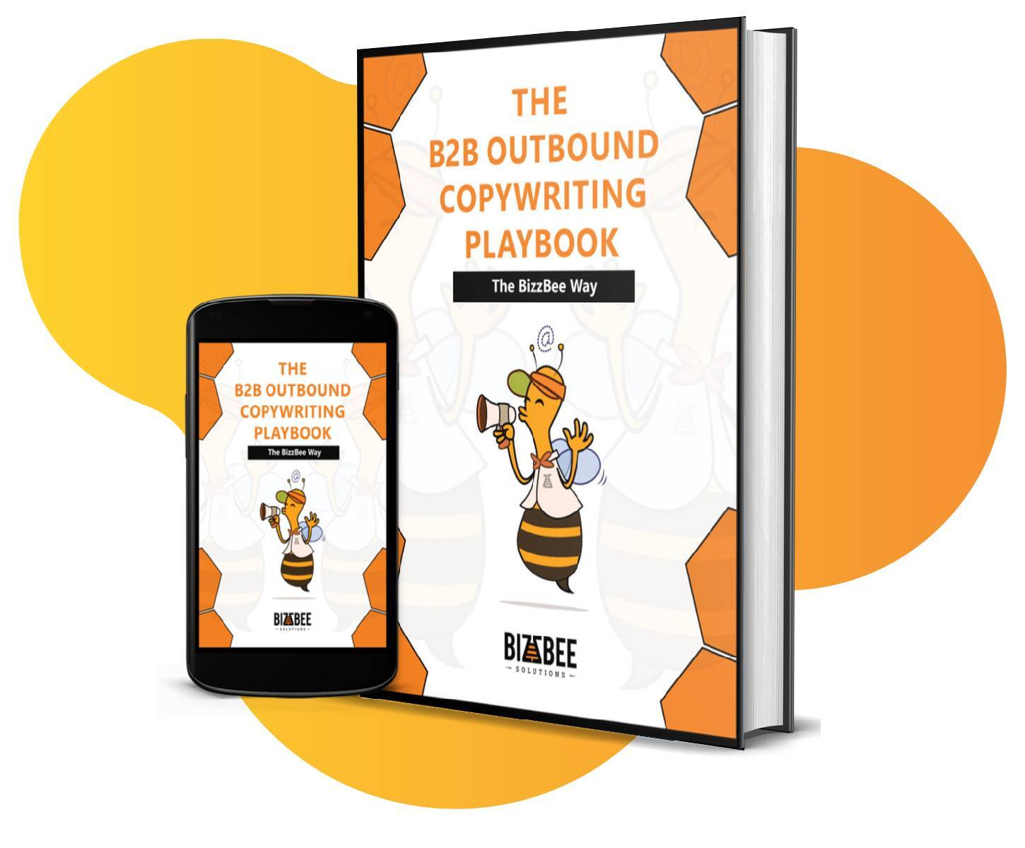 The B2B Outbound Copywriting Playbook - BizzBee's ebook cover mobile and physical book mockup.