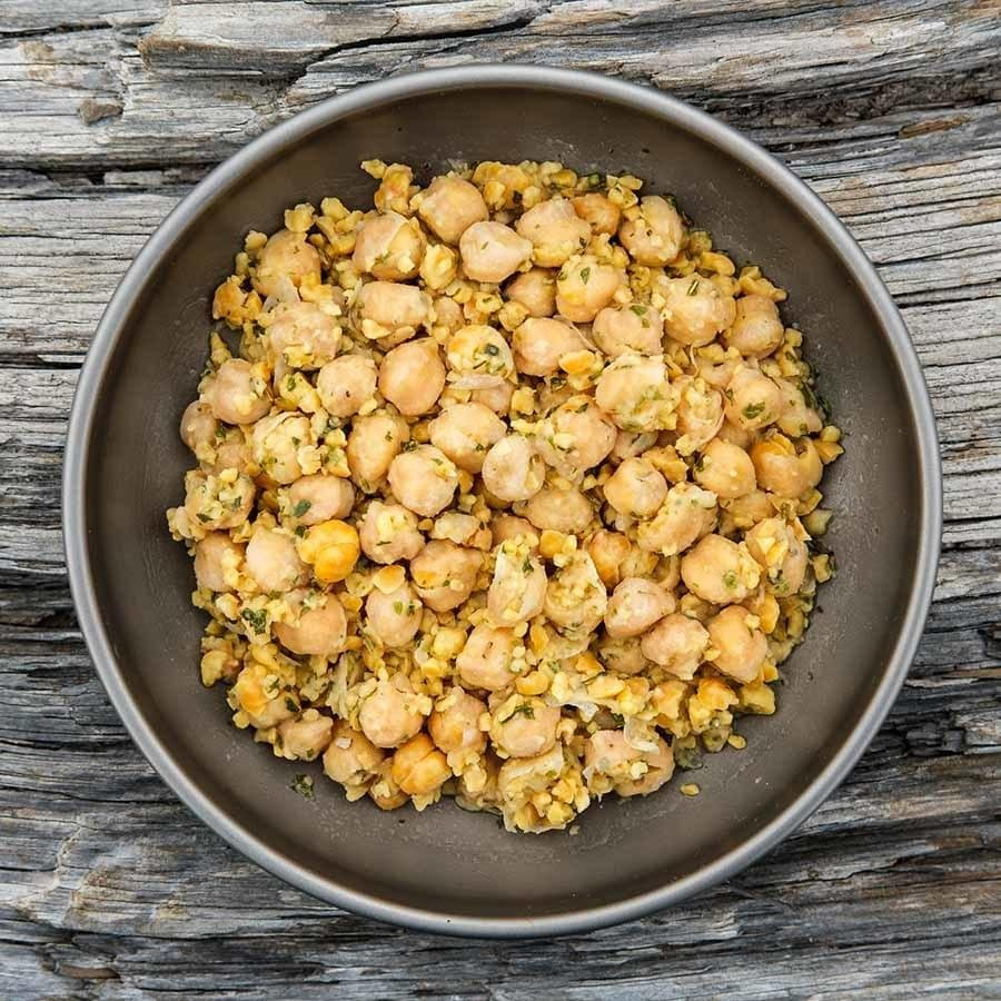 Marinated Chickpeas ultralight backpacking recipe ready for dinner at camp.