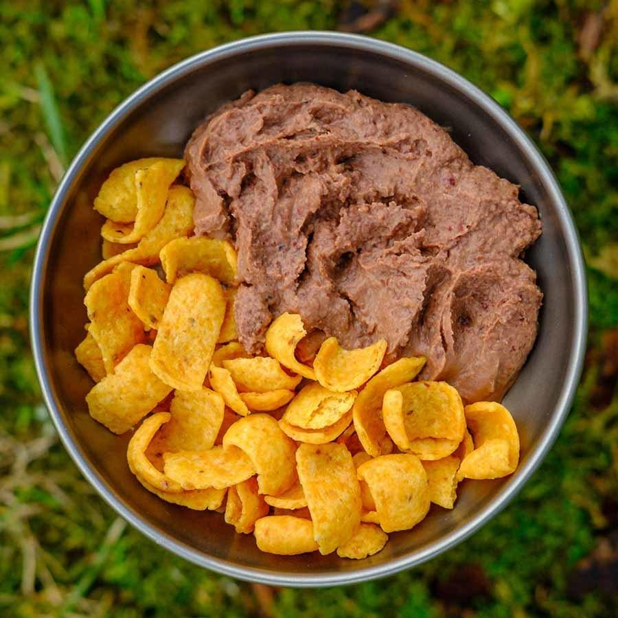 Black Bean Dip ultralight backpacking recipe ready for lunch on trail.