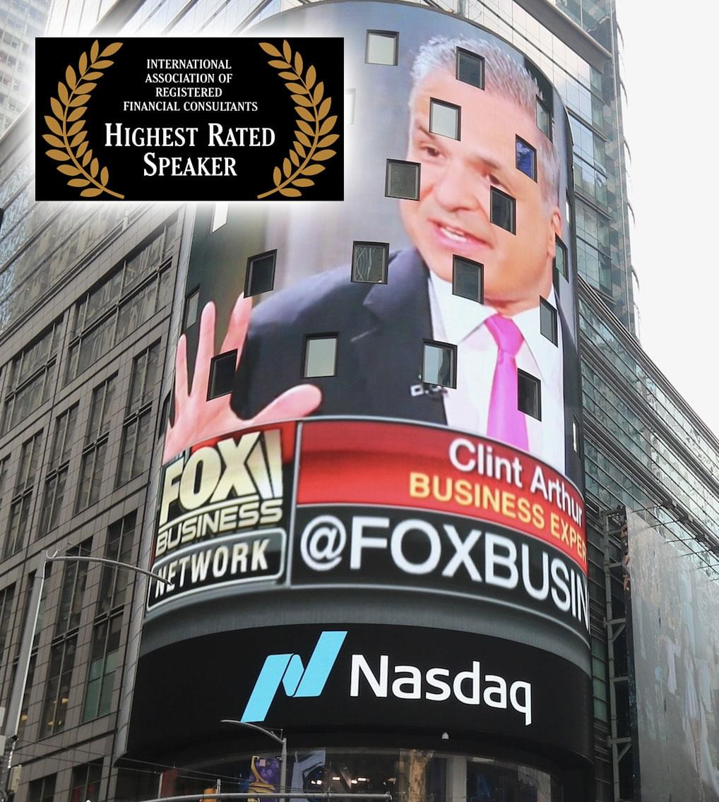 Financial Advisor Marketing Expert Clint Arthur, Highest Rated Speaker at International Association of Registered Financial Consultants, on Nasdaq Jumbotron in Times Square, NYC