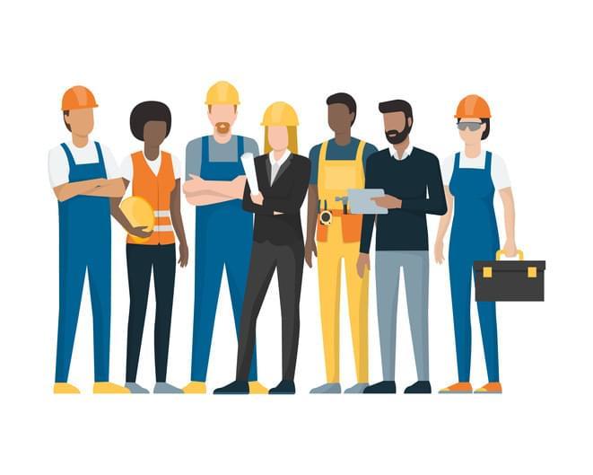 Auf diesem Bild sieht man Mitarbeiter von handwerklichen Betrieben