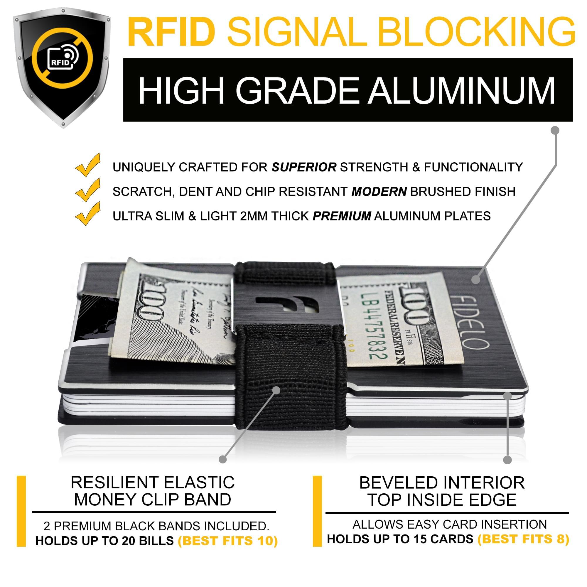 FIDELO slim carbon fiber minimalist wallet credit card holder key features