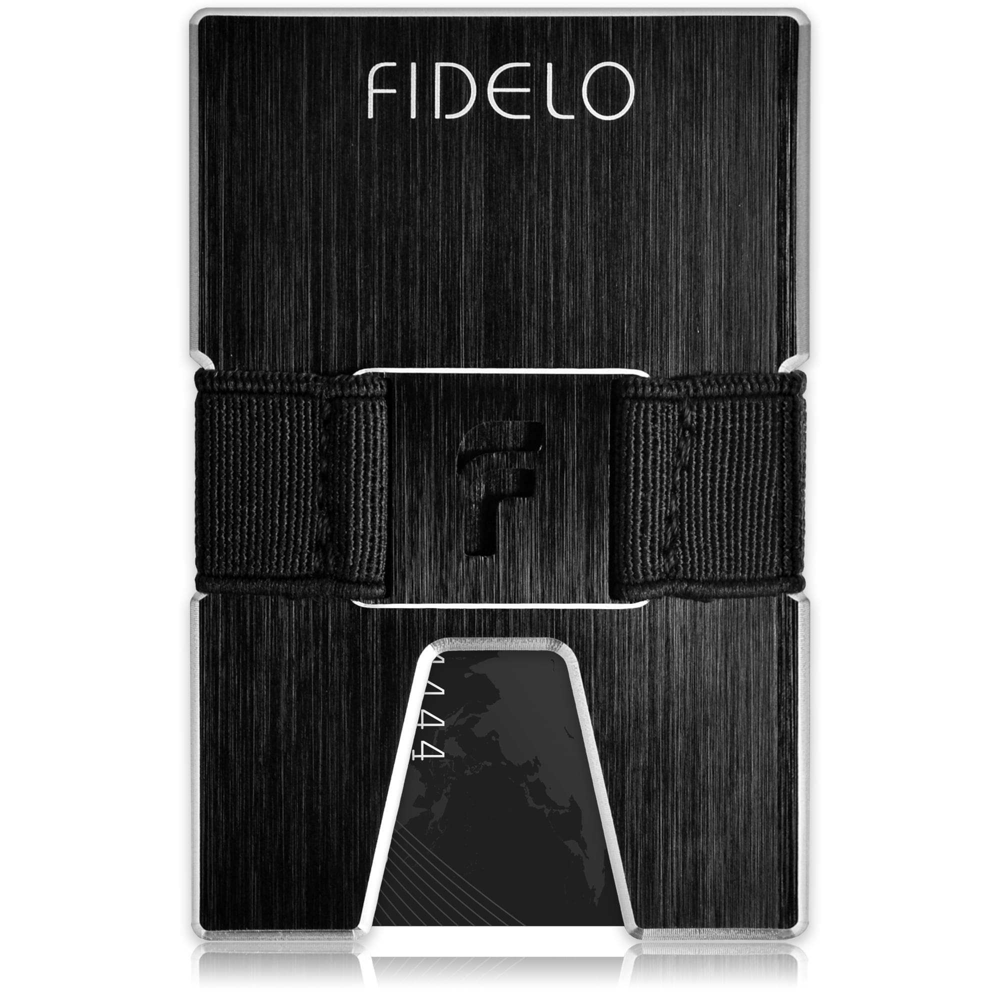 FIDELO slim carbon fiber minimalist wallet with cash in money clip band