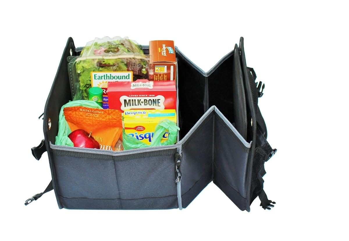 single compartment view with groceries inside organizer