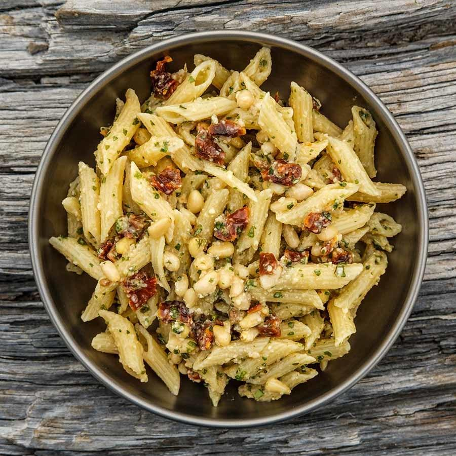 Sun Dried Tomato Pesto Pasta backpacking recipe ready for dinner