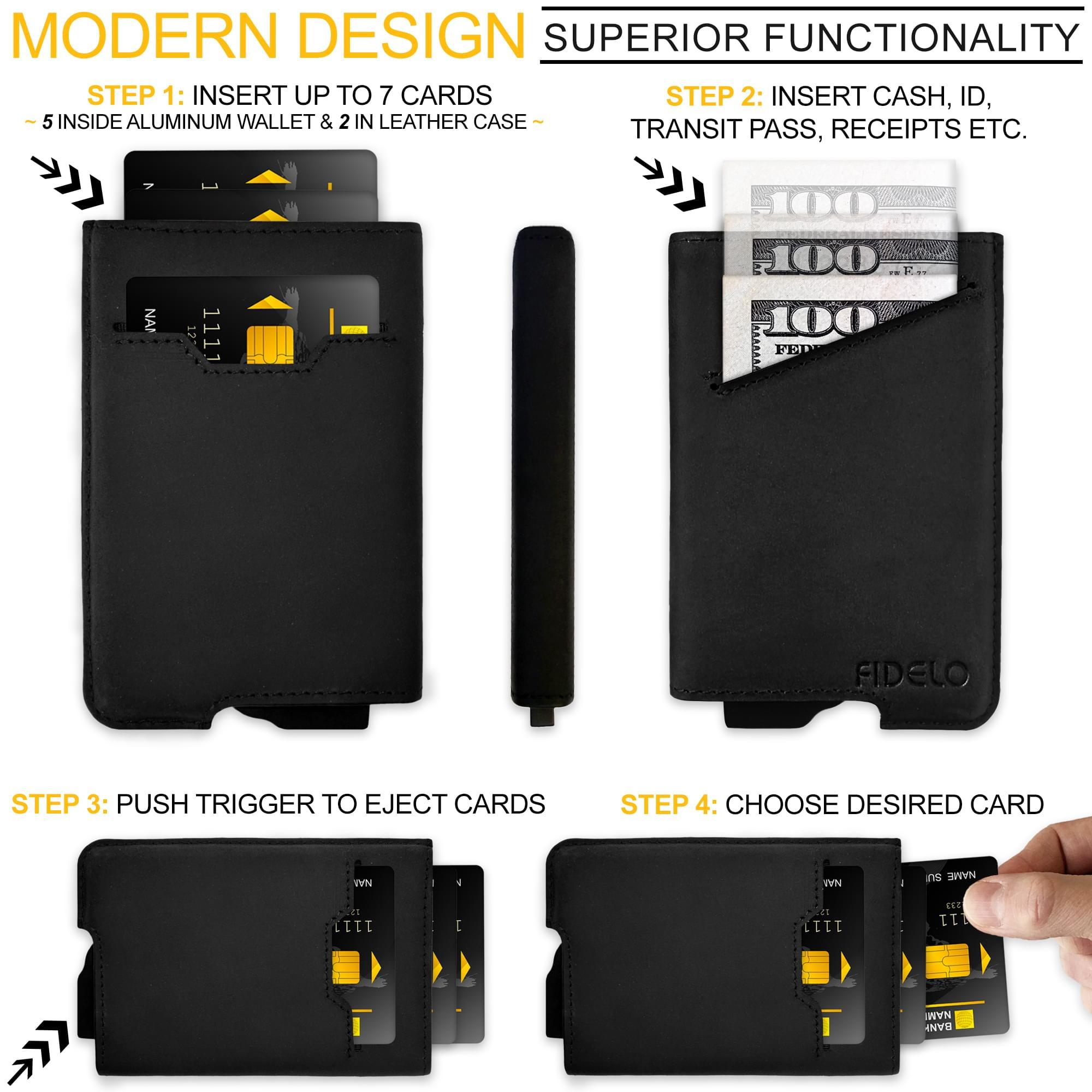 FIDELO slim carbon fiber minimalist wallet credit card access instructions