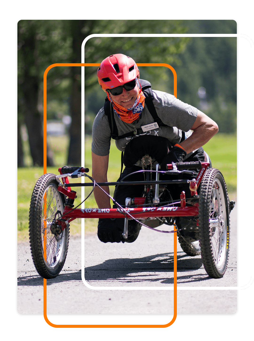 Female adventurer with disability, on a bike ride