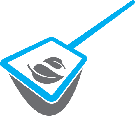 blue pool net icon with leaves