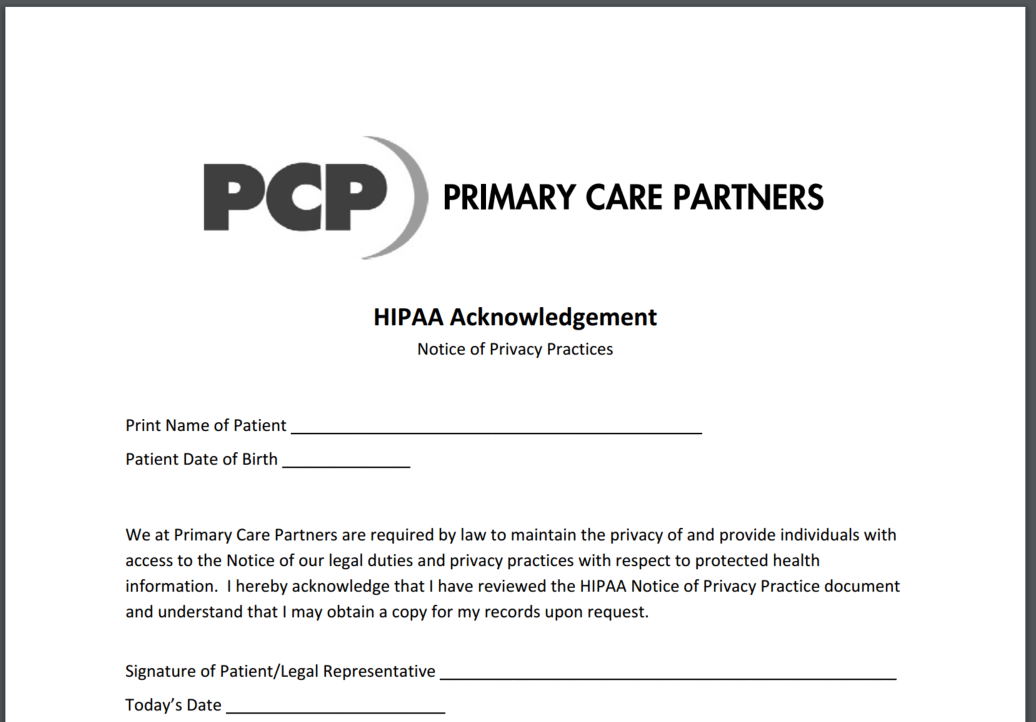 HIPAA Acknowledgment Form