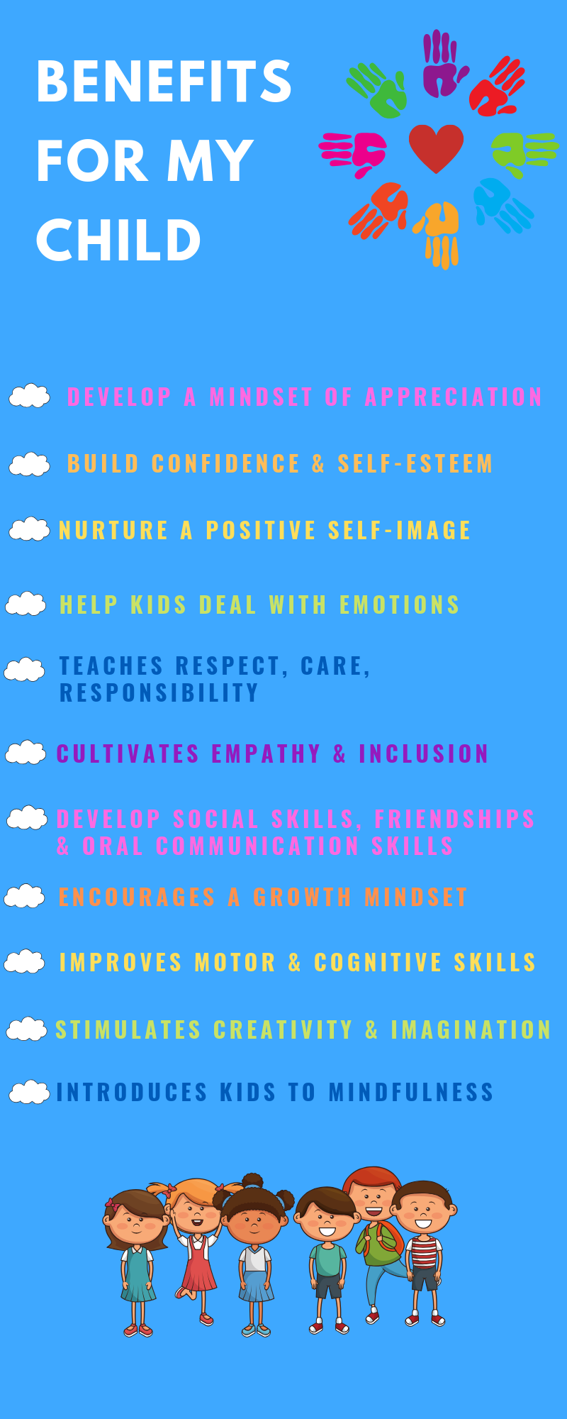 Benefits for my child, children, skills, respect, responsibility, mindfulness, creativity, imagination, growth mindset, empathy, friendship, confidence, self esteem