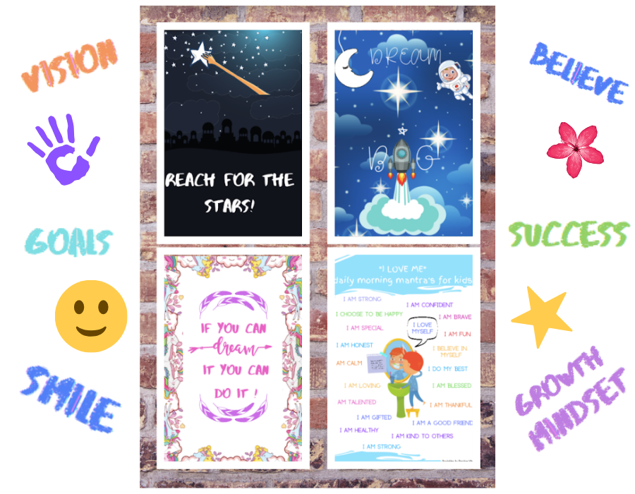 positive posters example, flower, smile, vision, believe, success, growth mindset