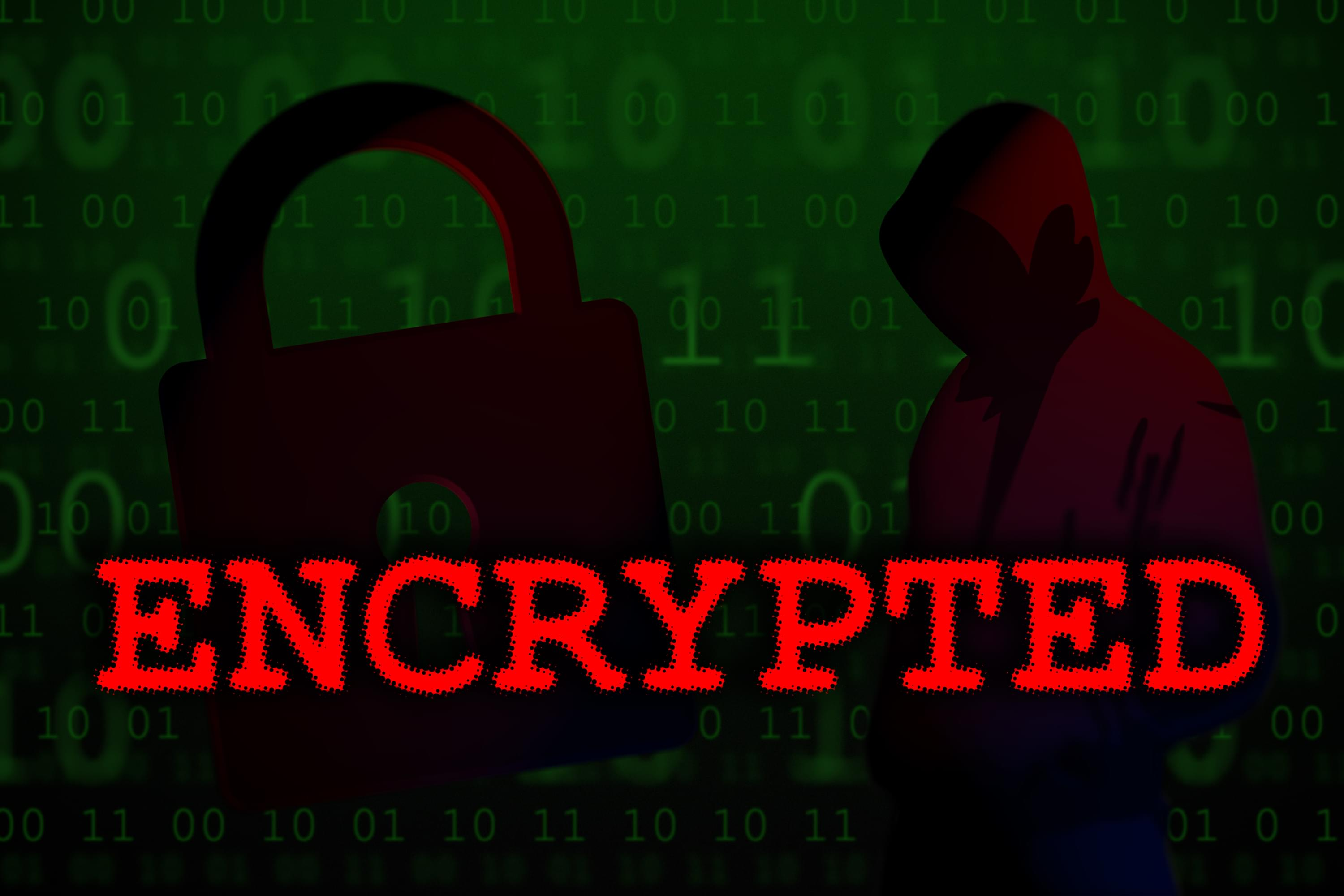 """Lock illustration with the word """"encrypted"""" across it"""