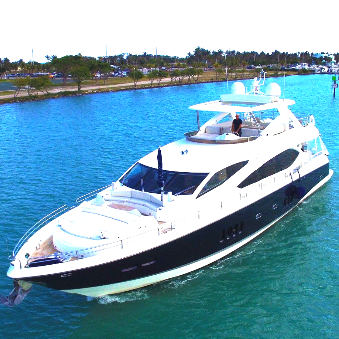 84' Sunseeker super yacht party yacht boat miami Bachelor bachelorette
