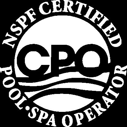 Blue CPO NSPF Certified Pool Operator Logo white icon