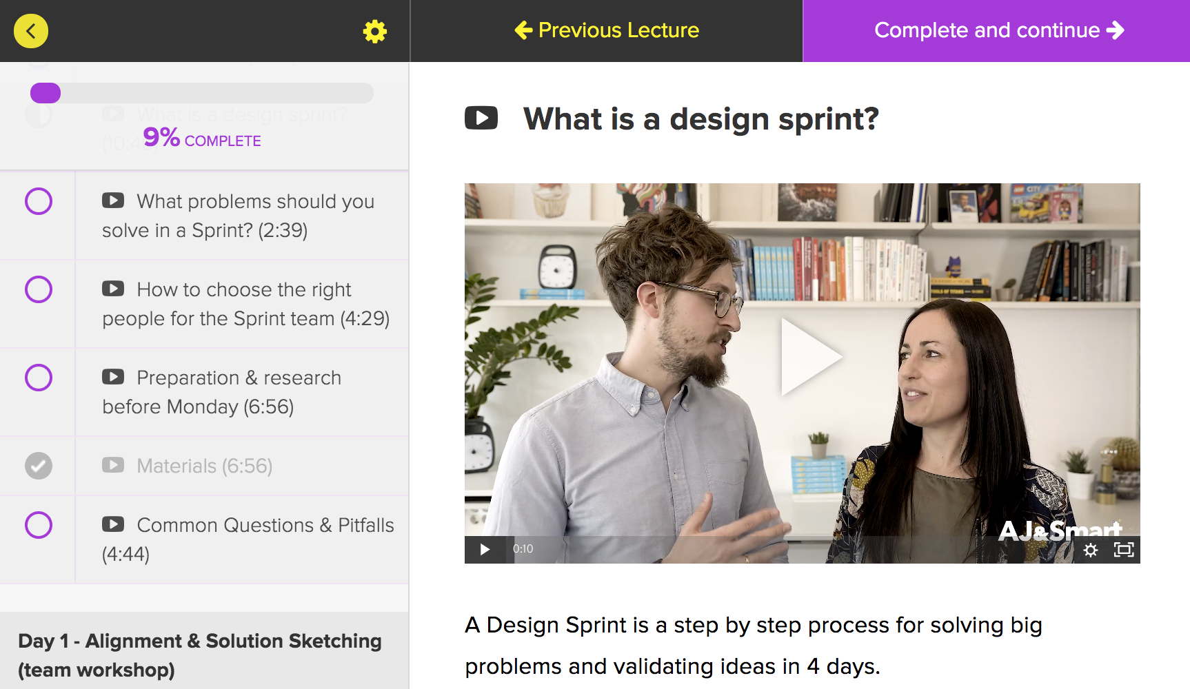 Design Sprint Masterclass layout