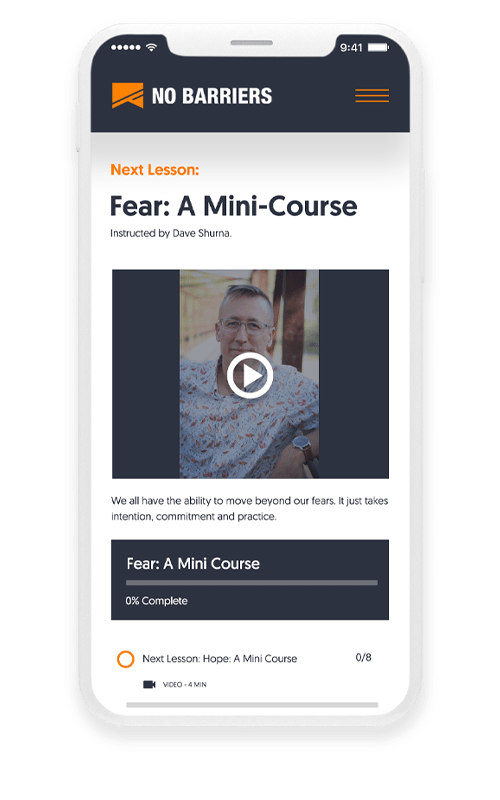 iPhone 8 showcasing the 'Overcoming Fear' Mini Course, with David Shurna of No Barriers