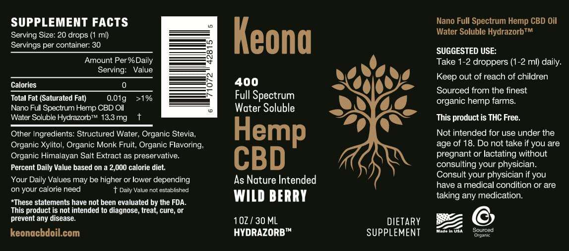 Keona CBD Oil Bottle Detail