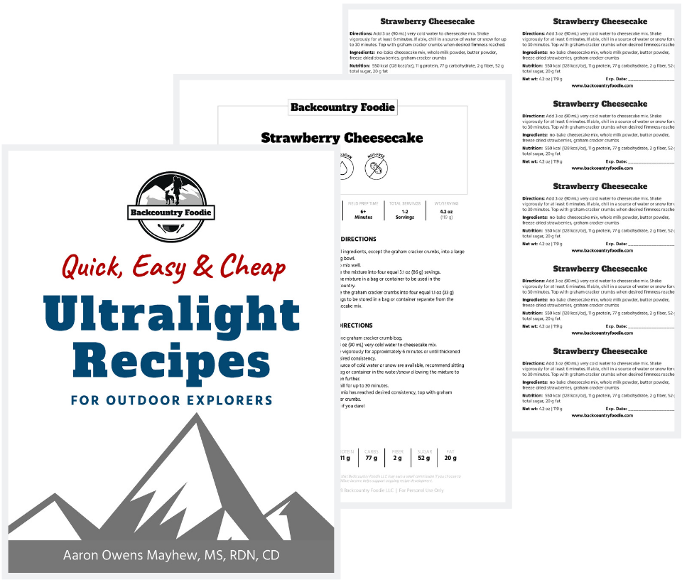 backpacking recipe cookbook sample cover, strawberry cheesecake recipe, & package labels